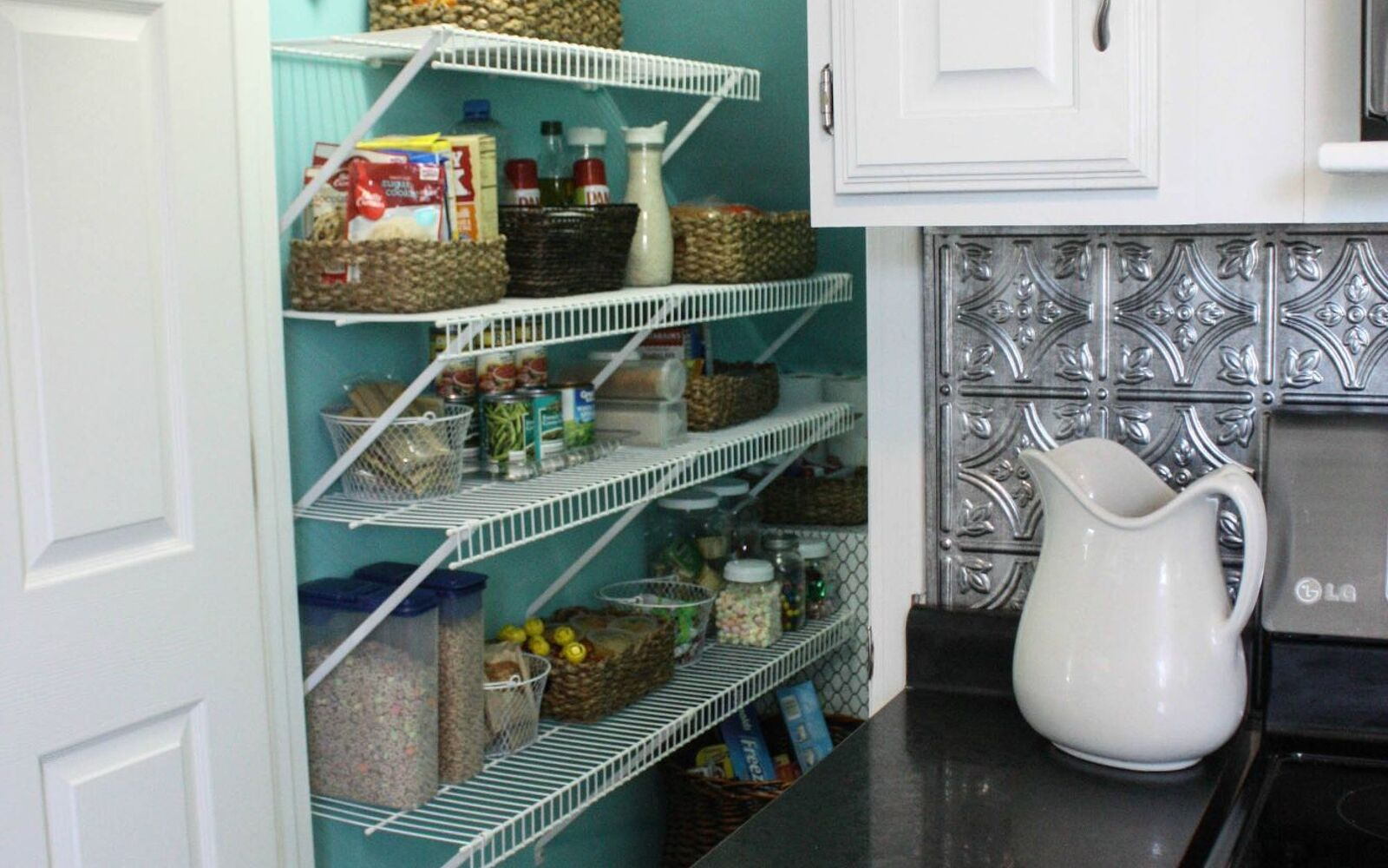 s 15 pinterest worthy pantries that eliminate search time for your favo, Press Decorative Laminate On A Air Box