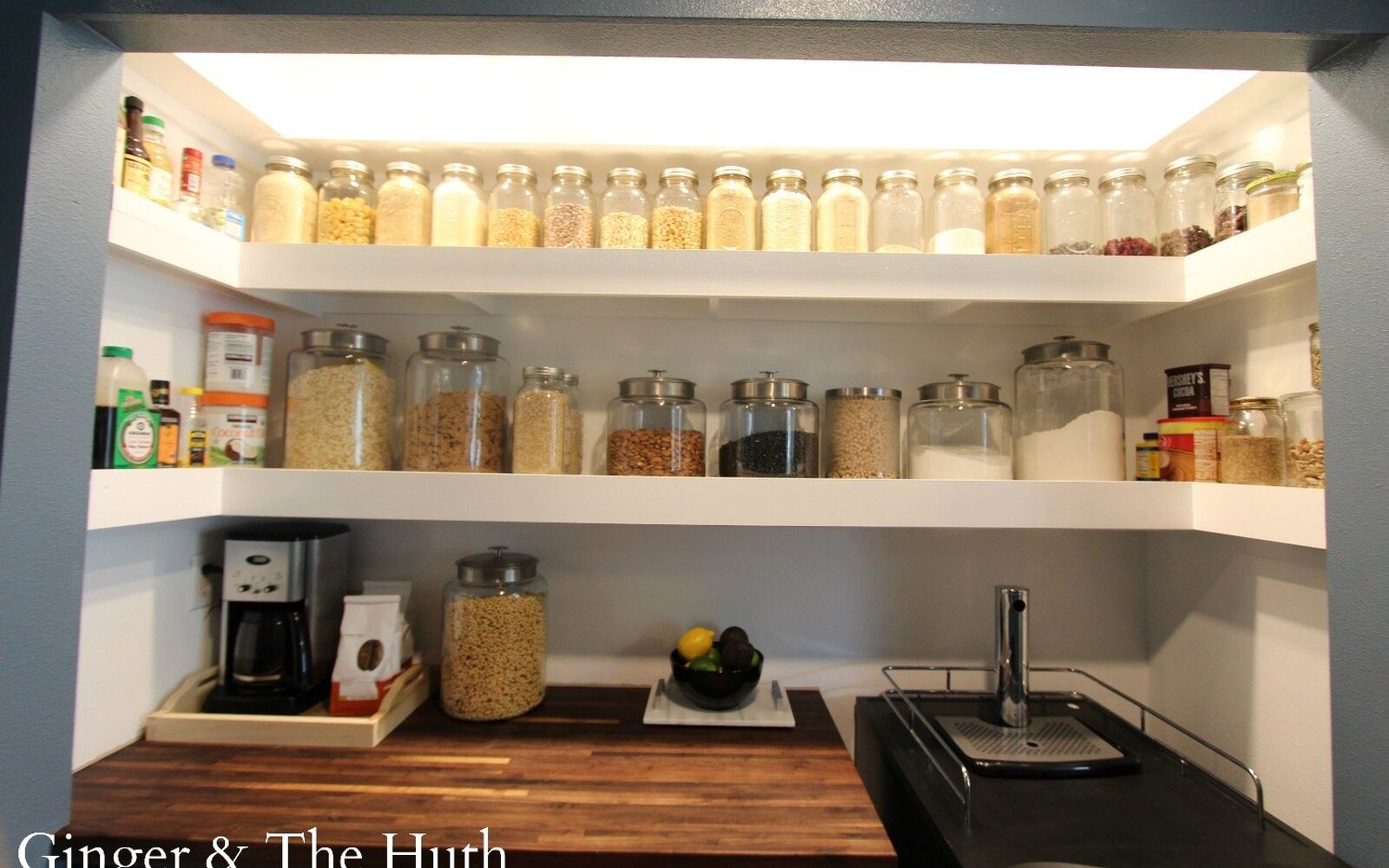 s 15 pinterest worthy pantries that eliminate search time for your favo, Replace Wire Shelving With Wood