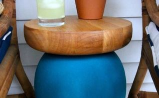 diy outdoor side table from a vase chips and salsa platter