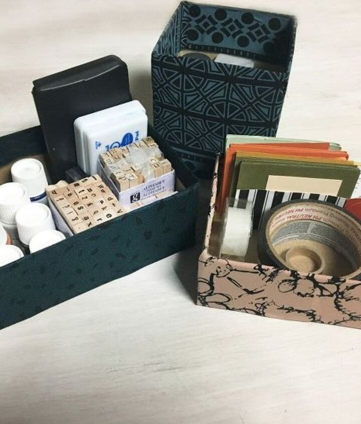 s 31 brilliant ways to repurpose everyday items into perfect organizers, Revamp Tissues Boxes Into Storage Bins