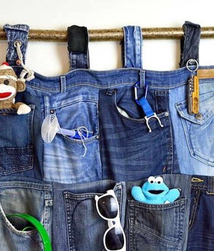 s 31 brilliant ways to repurpose everyday items into perfect organizers, Craft Old Jeans Into A Wall Pocket Organizer