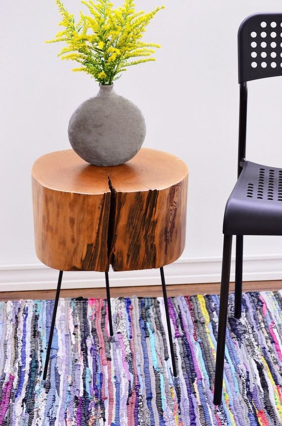 s 15 magazine worthy side tables that only look expensive, Chop A Tree Stump Into A Table