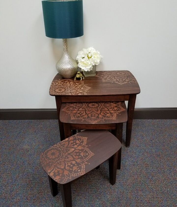 s 15 magazine worthy side tables that only look expensive, Stencil Your Side Table With A Mandala