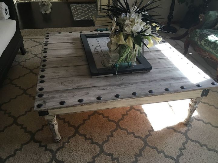 s 15 perfect coffee tables you and your husband can build together, Put Nails Into Fence Boards