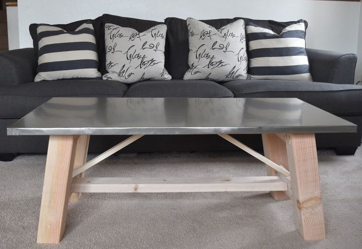 s 15 perfect coffee tables you and your husband can build together, Lay Down Film For A Faux Metal Look