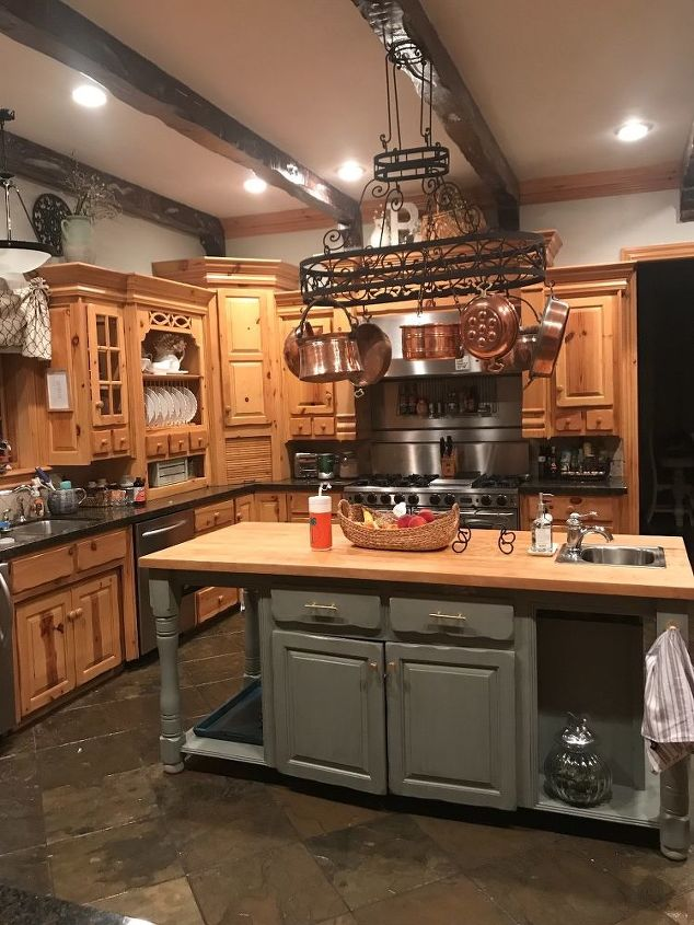 Any Ideas On How To Update My Knotty Pine Cabinets Or Pot Rack Hometalk