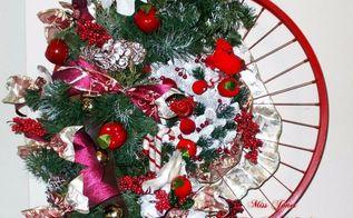 bike rim repurposed into 2017 holiday wreath