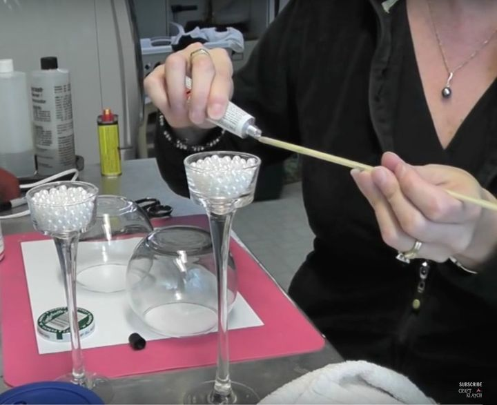 diy glitter and pearls candleholder dollar store makeover how to