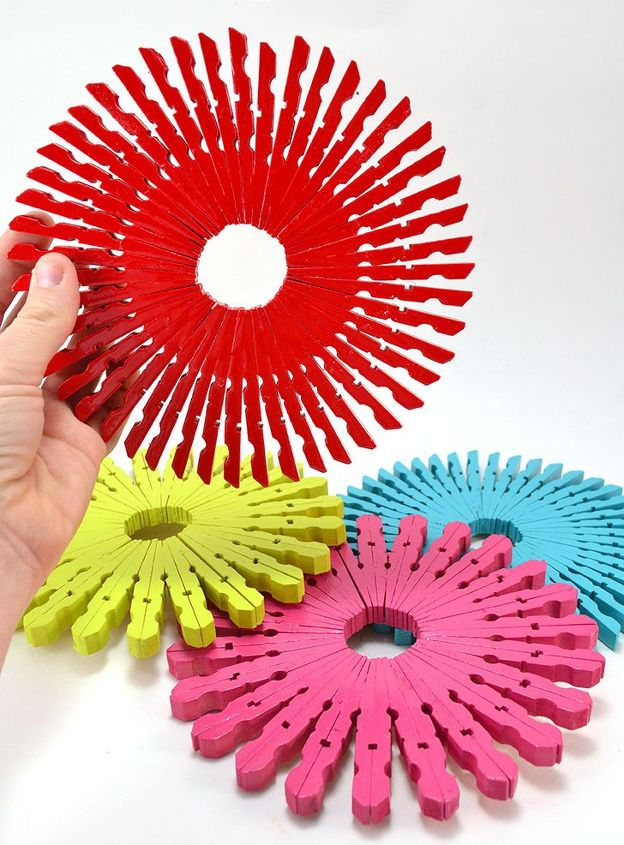 s 30 super cute easy diy ideas for your kitchen, Colorful Clothespin Trivets