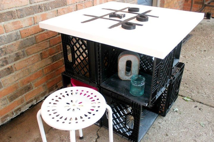 diy outdoor table with storage tabletop tic tac toe