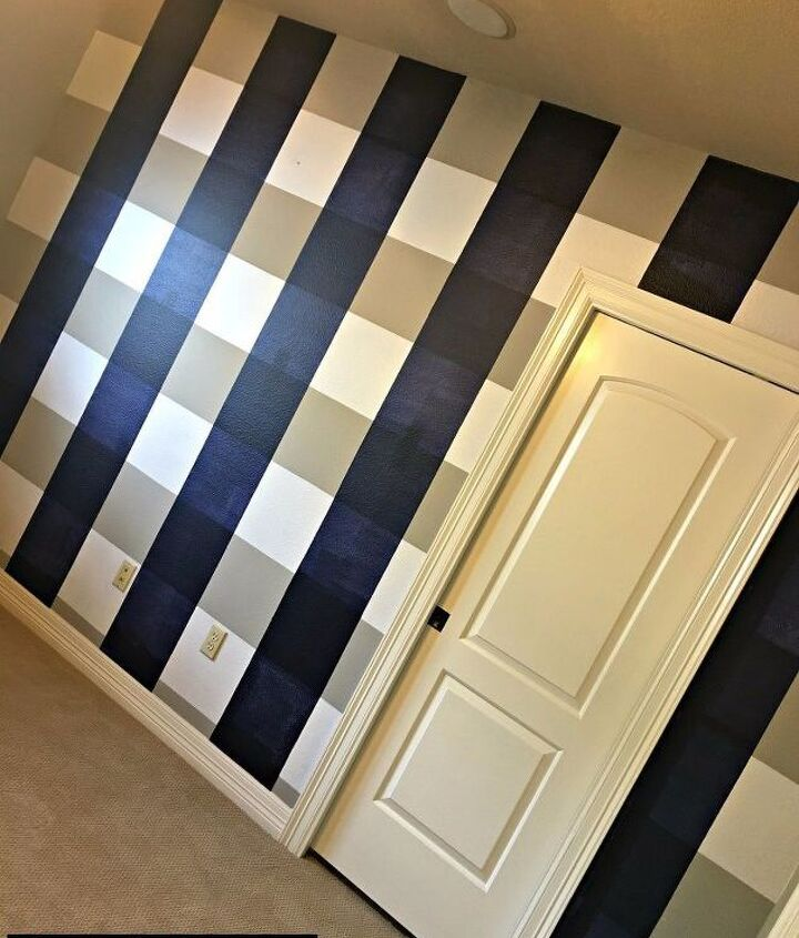 s 11 elegant accent walls that will make you proud to look at, Use Painter s Tape For Buffalo Check