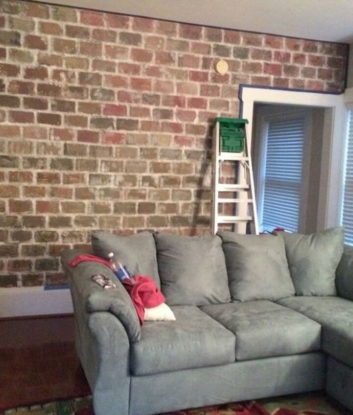 s 11 awesome projects to fake your way to the perfect home, Use Painter s Tape For A Brick Wall
