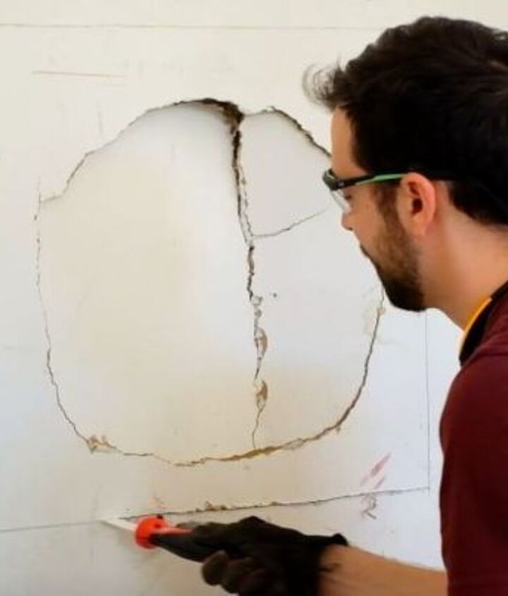 how to patch large drywall holes