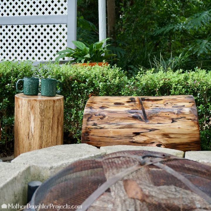 log and concrete fire pit bench
