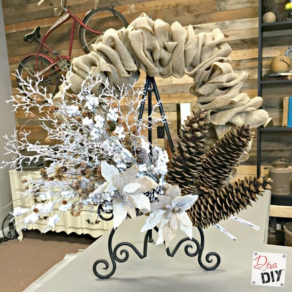 s 13 enjoyable burlap wreaths that ll make you smile when you see them, Upholster Burlap In A Wire Form