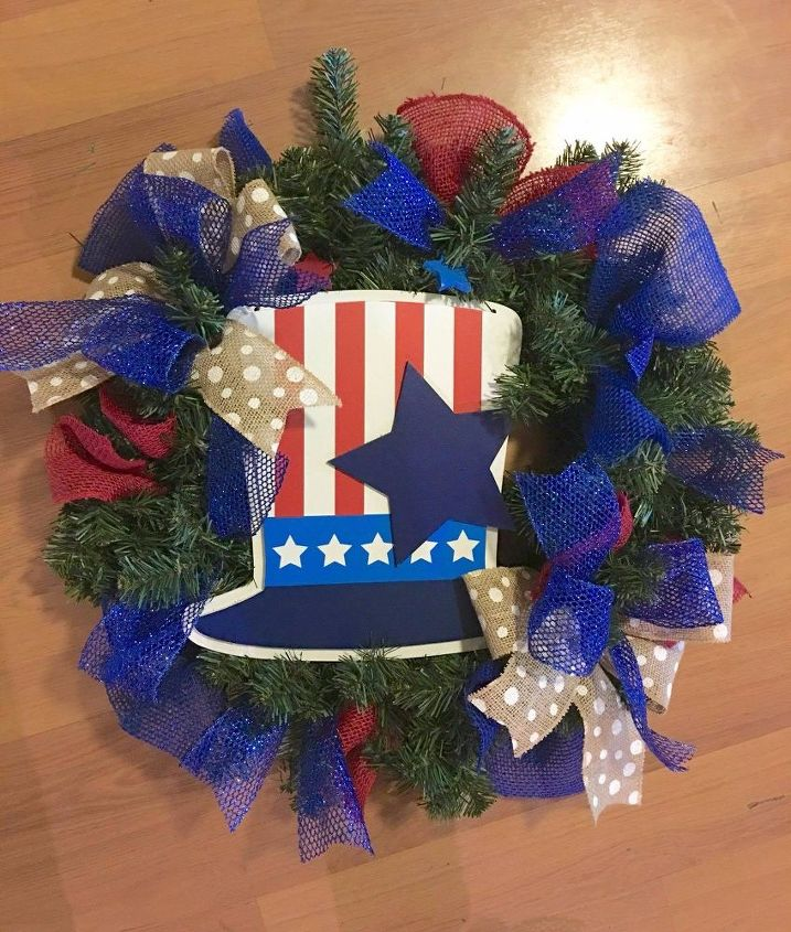 s 13 enjoyable burlap wreaths that ll make you smile when you see them, Have A Patriotic Wreath With Colored Burlap