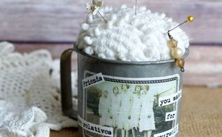 how to upcycle a vintage measuring cup into a pin cushion