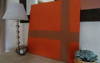 recycle old canvas art with new fabric