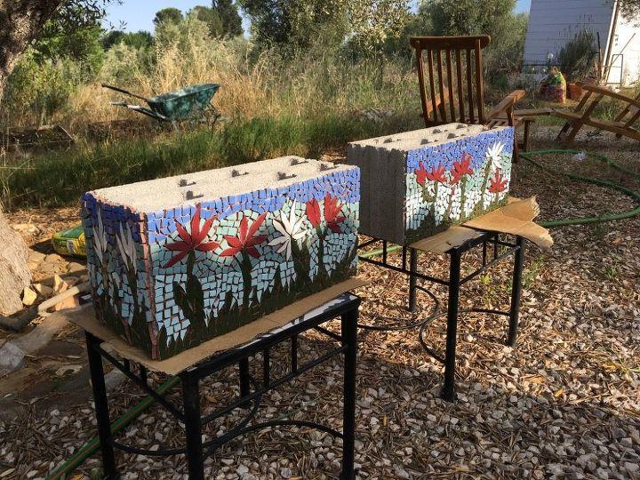 garden mosaics made from broken tiles