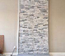 diy wood stove quartz ledger accent wall
