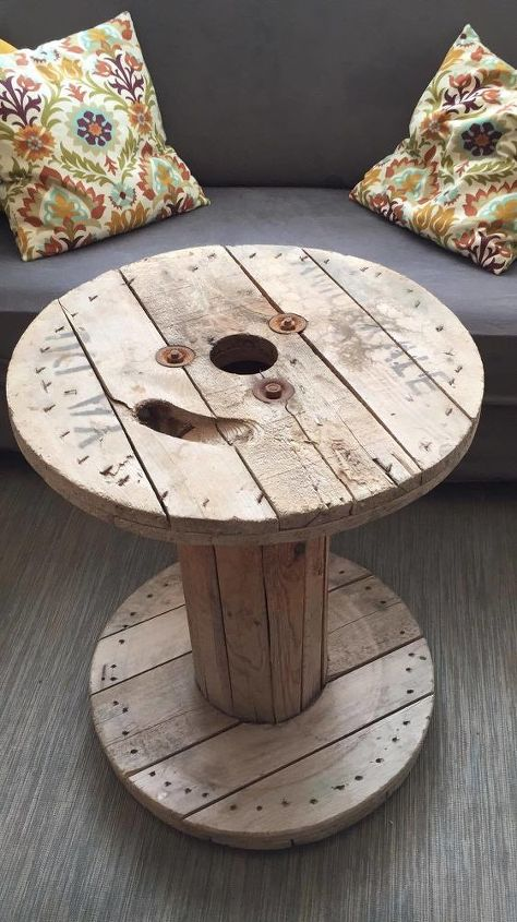 How To Turn A Dusty Cable Spool Into A Trendy Coffee Table Diy Hometalk