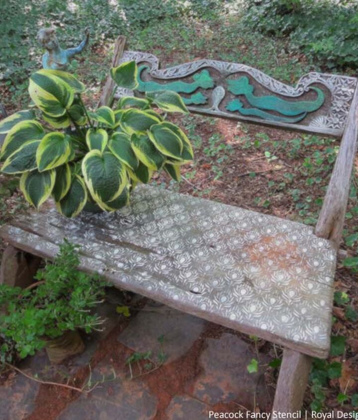 s 10 lovely benches you can build for your backyard and relax on, Stencil With Chalk Paint