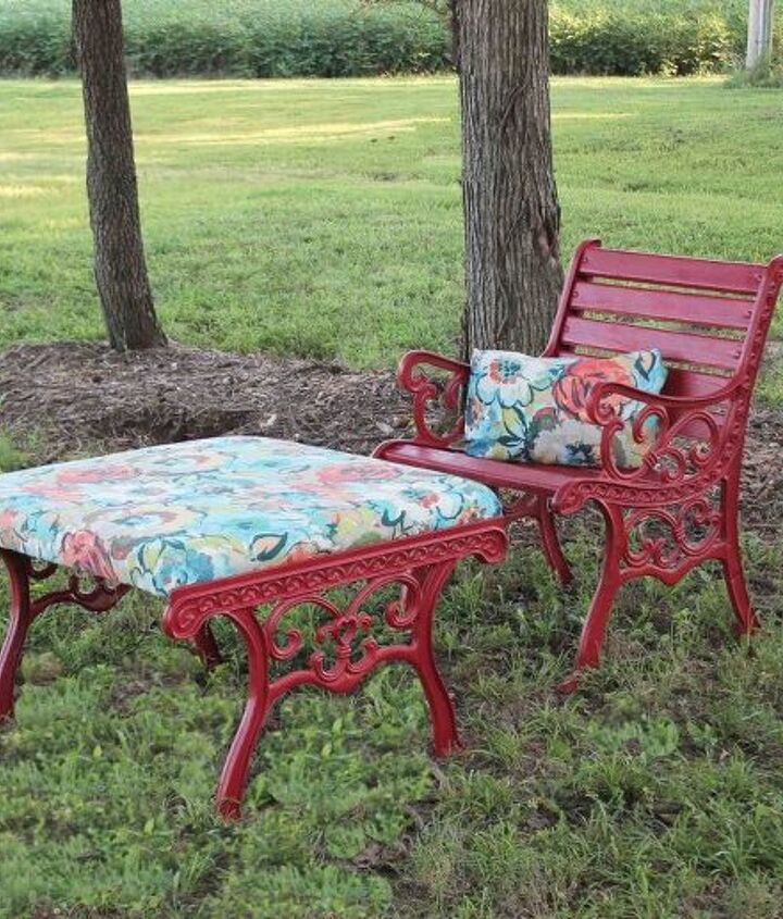s 10 lovely benches you can build for your backyard and relax on, Staple Colorful Fabric And Spray Paint