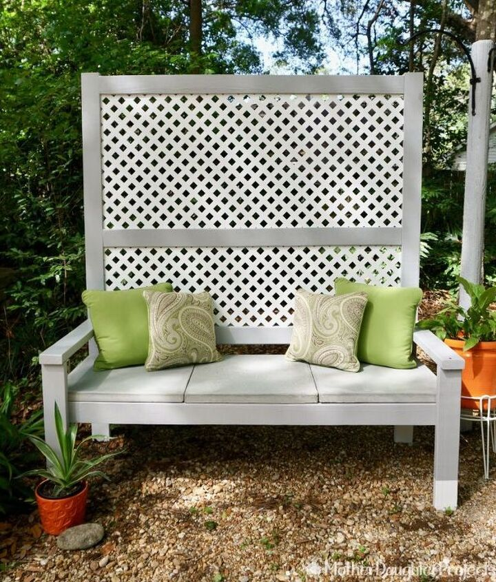 s 10 lovely benches you can build for your backyard and relax on, Build A Privacy Screen On Your Bench