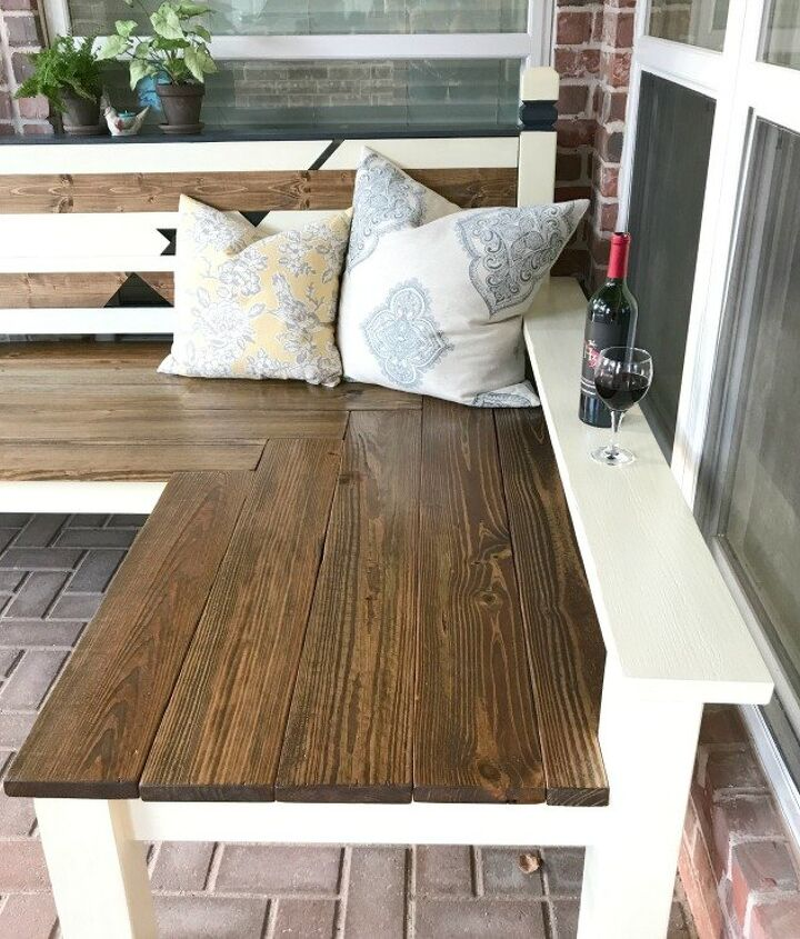 s 10 lovely benches you can build for your backyard and relax on, Construct An L Shaped Style With Shelves