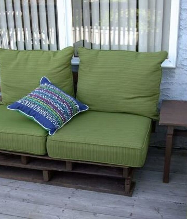 s 10 lovely benches you can build for your backyard and relax on, Stack Pallets Down Into New Seating