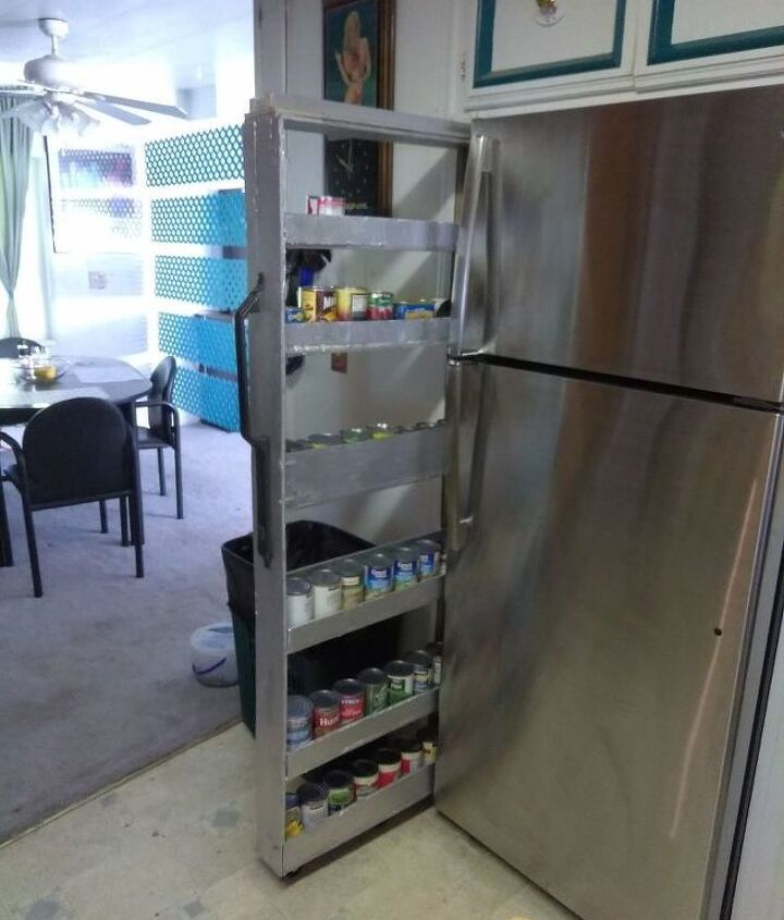 skinny shelf next to fridge gap