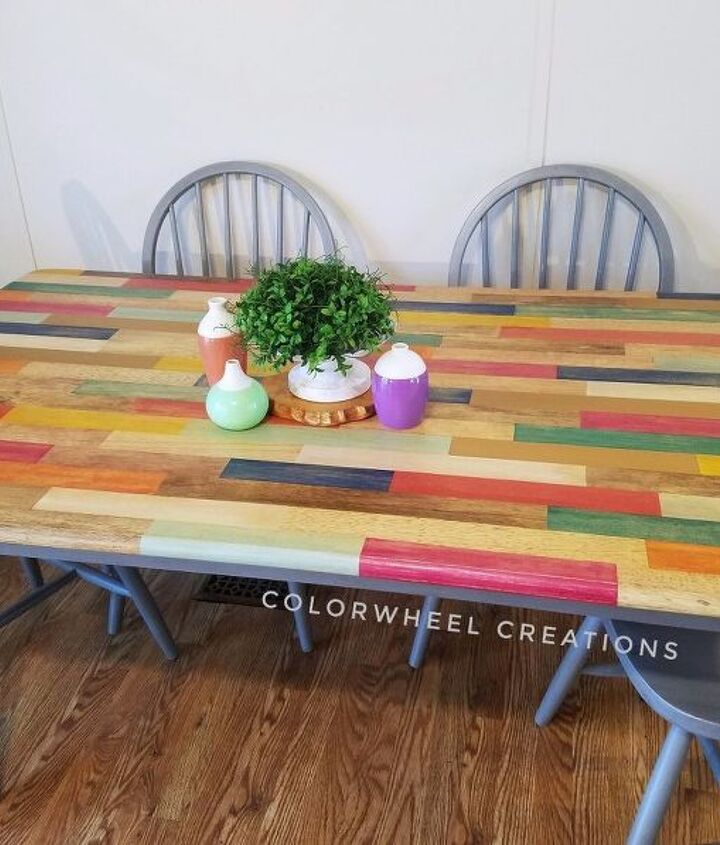 s 11 fascinating spit table makeovers your home needs right now, Use Multiple Stains For A Color Block