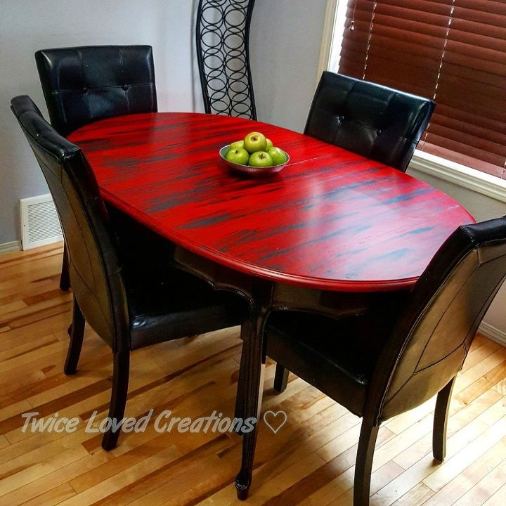 s 11 fascinating spit table makeovers your home needs right now, SPiT The Table A Bold Colored Red