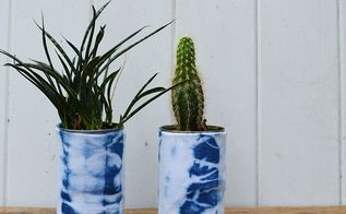 recycled shibori dyed tin can planters