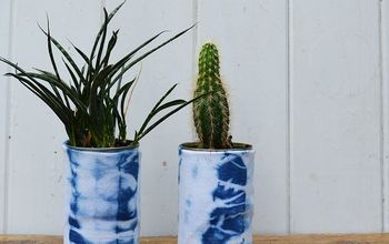 Recycled Shibori Dyed Tin Can Planters.