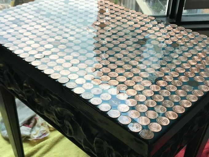 penny topped table upcycle