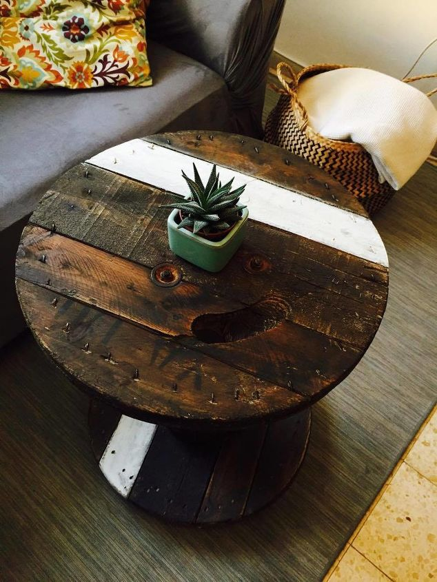Cable Spool Into A Trendy Coffee Table, Wooden Wire Spool Coffee Table