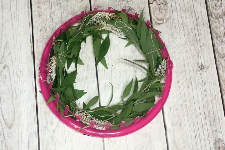 s turn a dollar store laundry basket into a wreath form, Step 5 Tie the layers together with thin twi