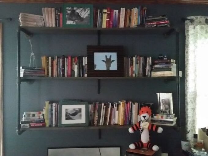 industrial style hanging bookshelves