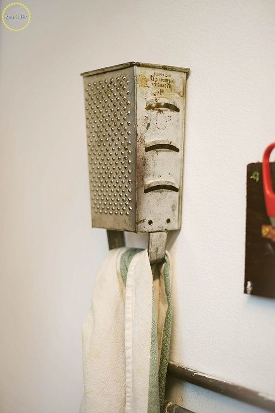 repurposed cheese grater into towel hook