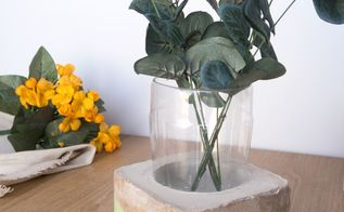 diy upcycled cement vase using a plastic bottle