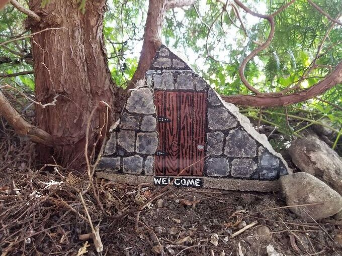 chunk of concrete becomes a fairy door