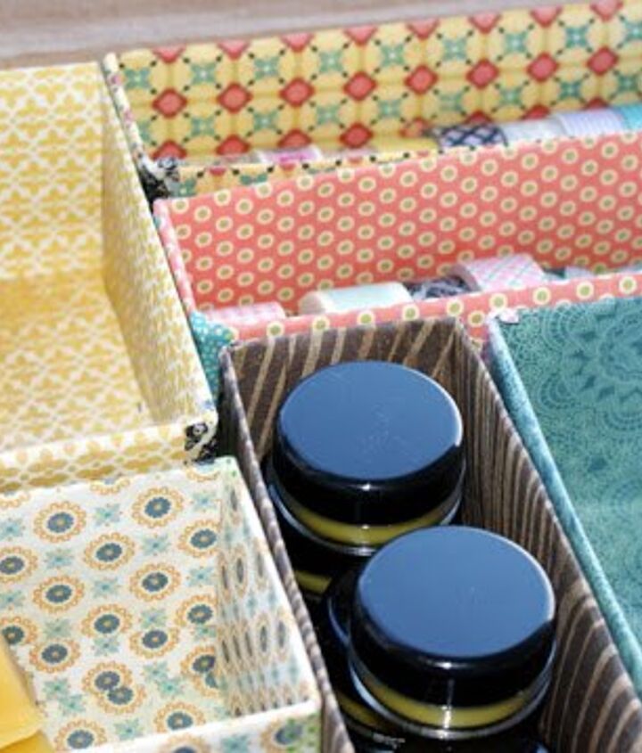 s 26 wonderful ways you can use scrapbooking paper, Declutter With Pretty Repurposed Organizers