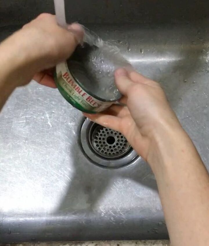 s transform tuna cans into gorgeous lighting in 9 simple steps, Step 1 Rinse out cans and pull off labels