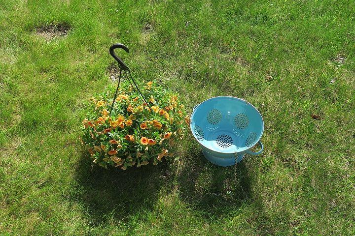 diy hanging collander planter