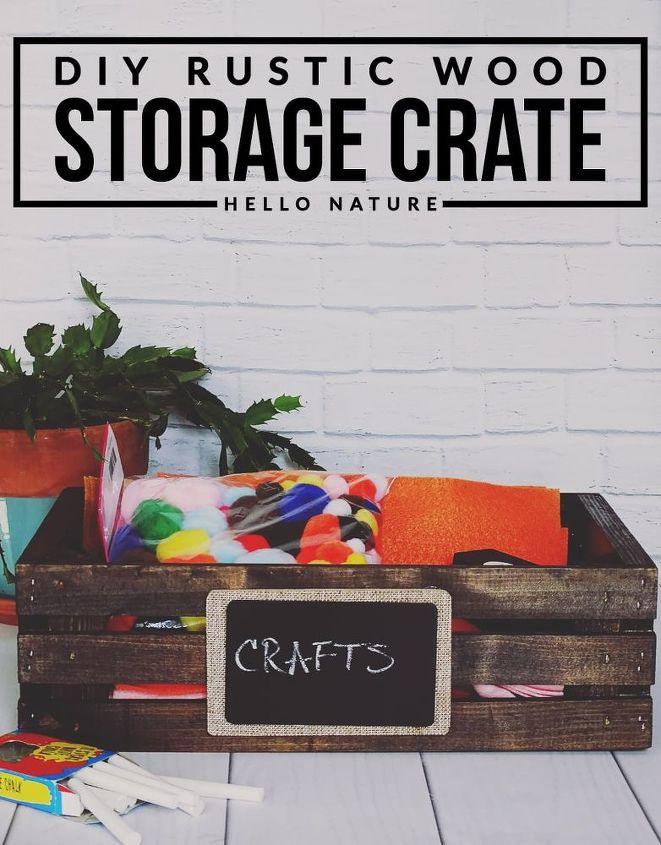 rustic wood storage crate diy