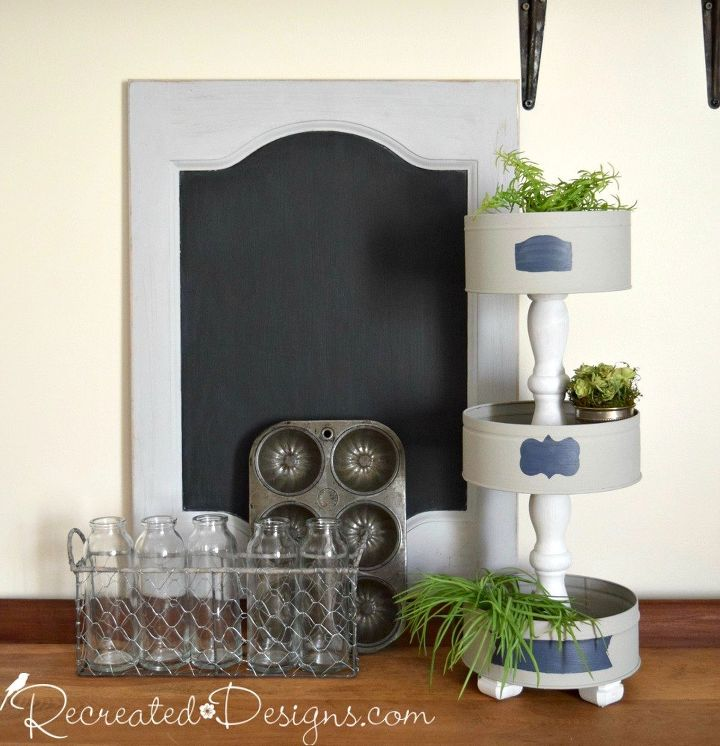 turn some old cookie tins into a beautiful tiered stand