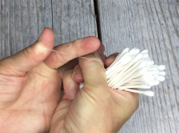 tie cotton swabs together for this outdoor seating update