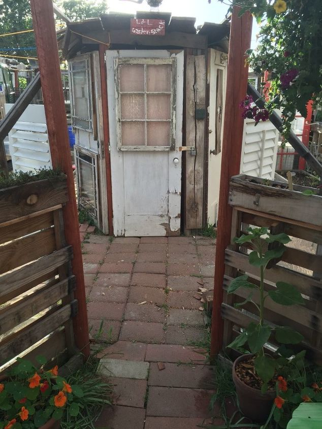 antique door garden shack