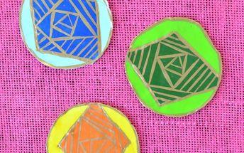 geometric clay coasters